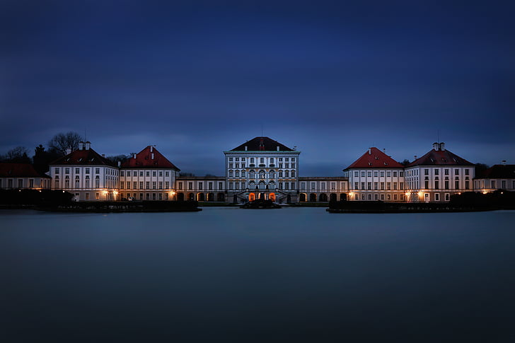 munich, nymphenburg palace, blue hour, night, architecture, cityscape, house