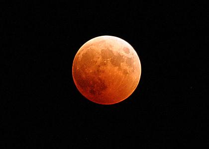 eclipsi de lluna, Lluna, sang, taronja, vermell, cosmos, espai