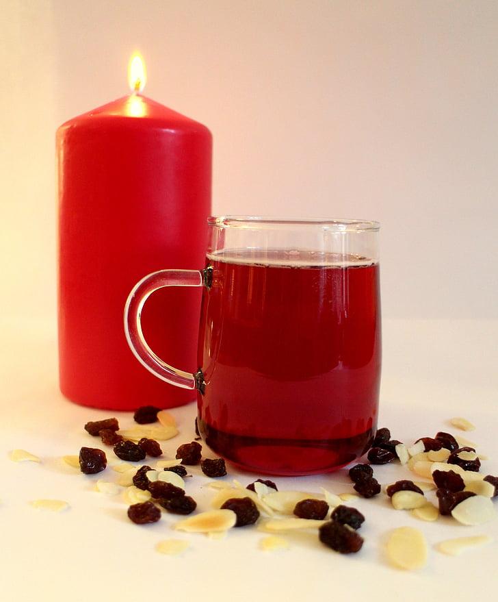 クリスマス, キャンドル, グリュー ワイン, 雰囲気, ドリンク, 食品
