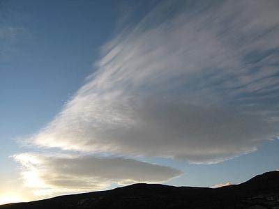 oblaky, modrá obloha, Cloud, neba, modrá, hory, Mountain