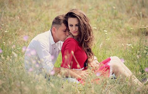 parella, l'amor, petó, noia, noi, Romanç, bellesa