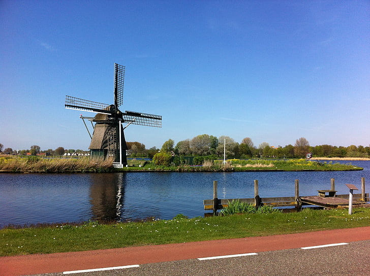 windmill, canal, countryside, traditional, holland, dutch, netherlands