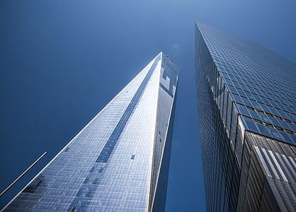 Torres, gratacels, cel, núvols, blau, Manhattan, Nova york