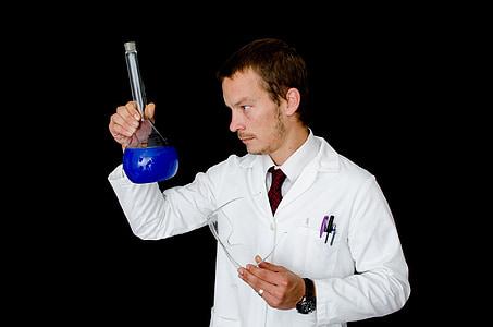 homem, casaco, pessoas, laboratório, laboratório, vidro, líquido