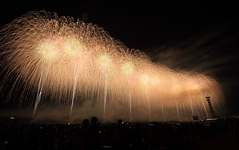 fireworks, spark, clouds, sky, nature, smoke, celebration