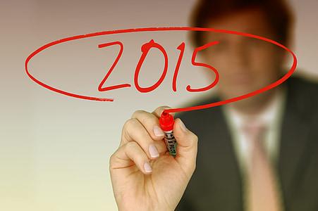 empresari, deixar, any nou, cap d any, 2015, l'any, marcador