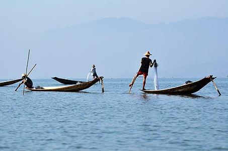 inlelake, inle lake, single-leg-rowers, myanmar, fischer, bamboo basket, inlesee
