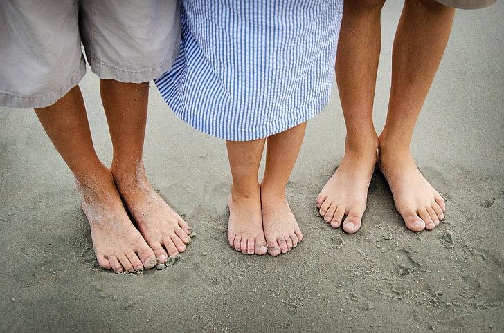 peus, descalç, platja, nens, família