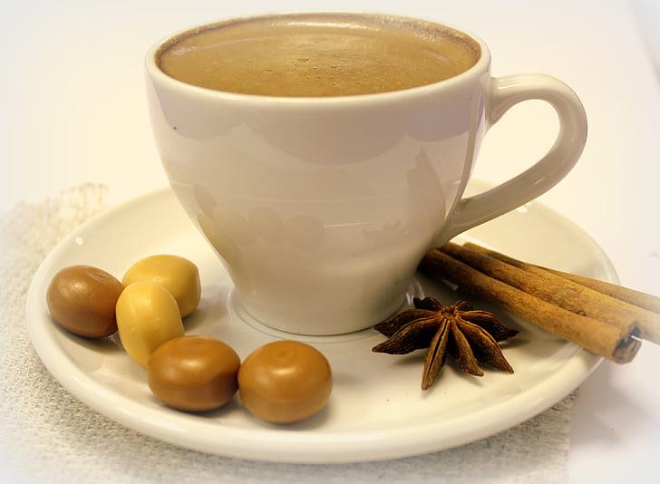 kavos, saldainiai, Cinamonas, gėrimas, puodelis, kavos puodelis, kavos puodelis