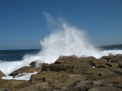 ona, Bondi, Sydney, oceà, Costa, Roca, platja