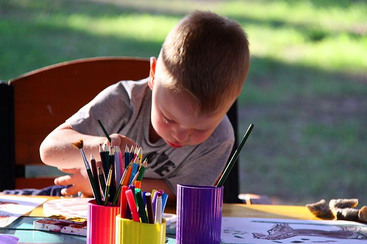 kids, figure, paint