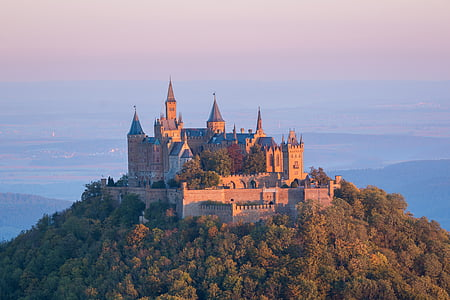 castle, hohenzollern, sunrise, fortress, morgenstimmung, hohenzollern castle, germany