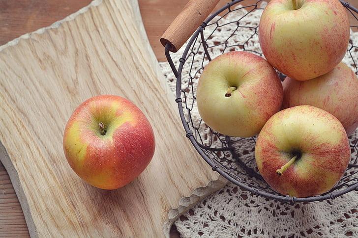 obuolių, pjaustymo lenta, krepšys, vaisių krepšelis, Bio, Bio obuolių, šalies gyvenime