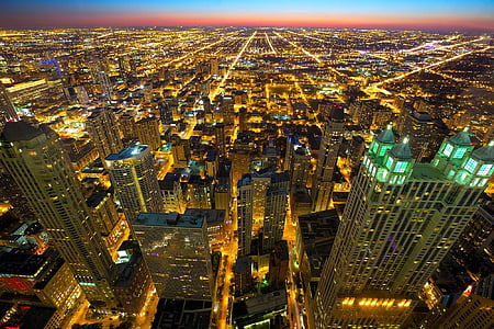 Skyline, Night city, Chicago-skyline, solnedgång, Horisont, stadsbild, staden