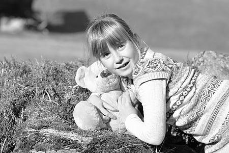 dziecko, Dziewczyna, Natura, Miś