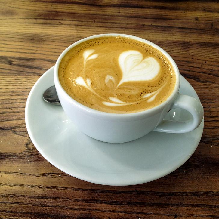 kavos, Latte, espreso kavos, kapučino kava, puodelis, kavinė, gėrimas