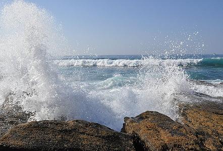 Sahil, kaya, sörf, Deniz suyu, su, okyanus, köpük