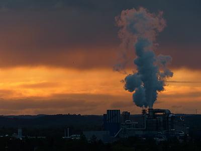 промисловість, електростанція, дим, Вихлопні гази, забруднення, димохід, захист навколишнього середовища