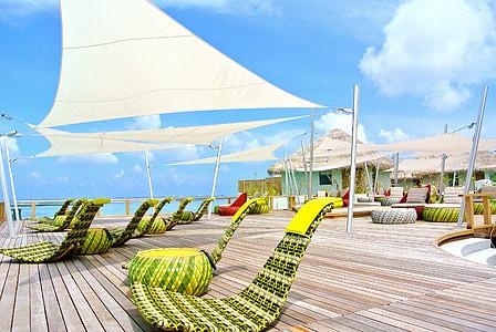 Mar de Maldives, complex, l'estiu, vacances, cel, oceà, platja