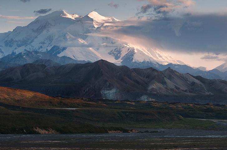 muntanya, paisatge, núvols, vent, desert, Denali, Alaska