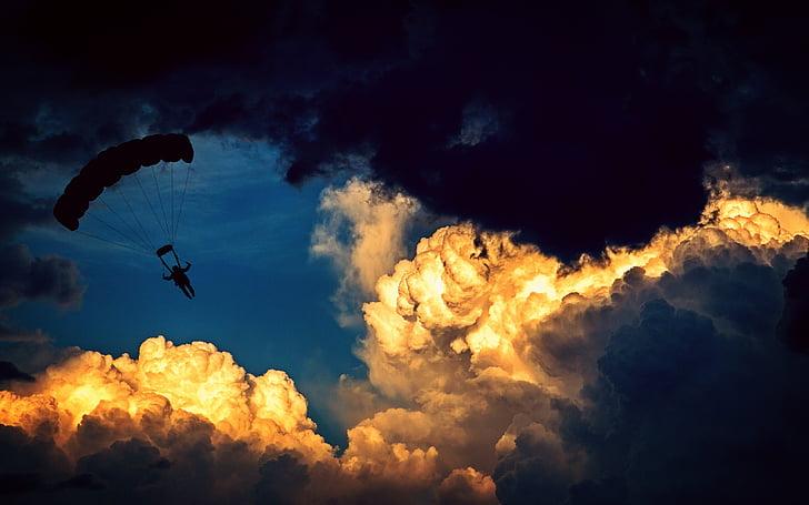 laskuvarjo, laskuvarjohyppääjä, Varjoliidin, Ilmastointi urheilu, lentää, urheilu, vapaa-ajan
