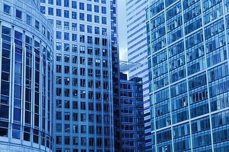 arquitectura, blau, edifici, negoci, ciutat, comercial, construcció