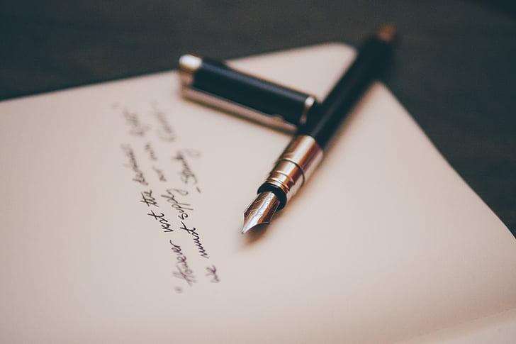 silver, black, fountain, pen, paper, fountain pen, pen pen
