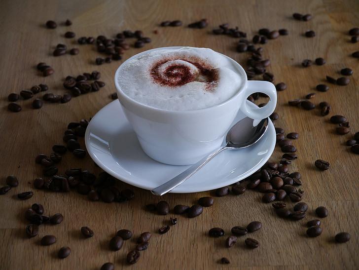café, capuchino, leche, granos de café, bebida, taza, cuchara de