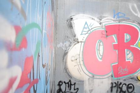 graffiti, fal, graffiti fal, festék, piros, művészi, rongálás
