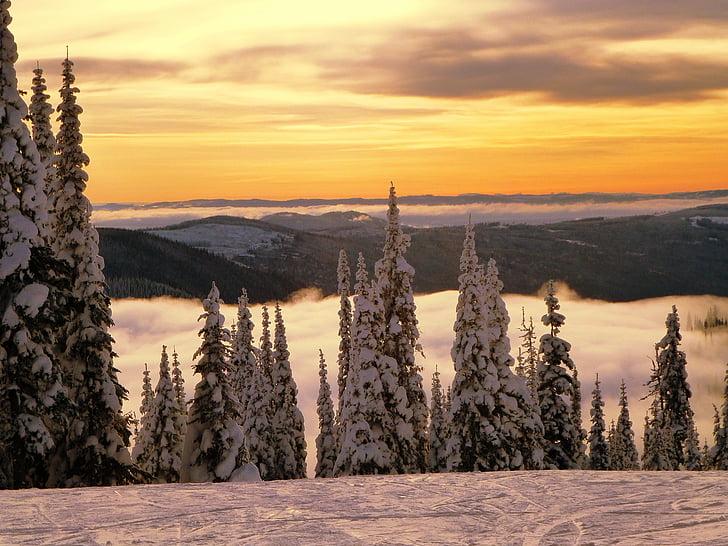sončni zahod, oblaki, vrhu gore, krajine, scena, scenics, nebo
