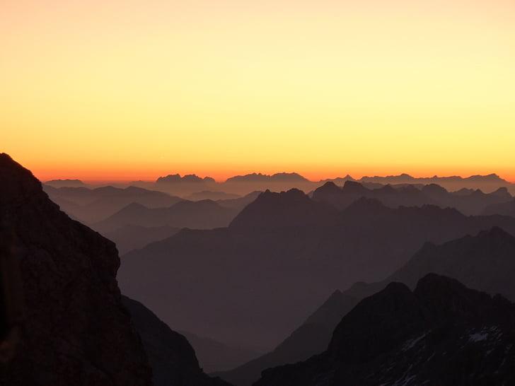 montanhas, Morgenrot, panorama dos Alpes, nascer do sol, Alpina, paisagem, morgenstimmung