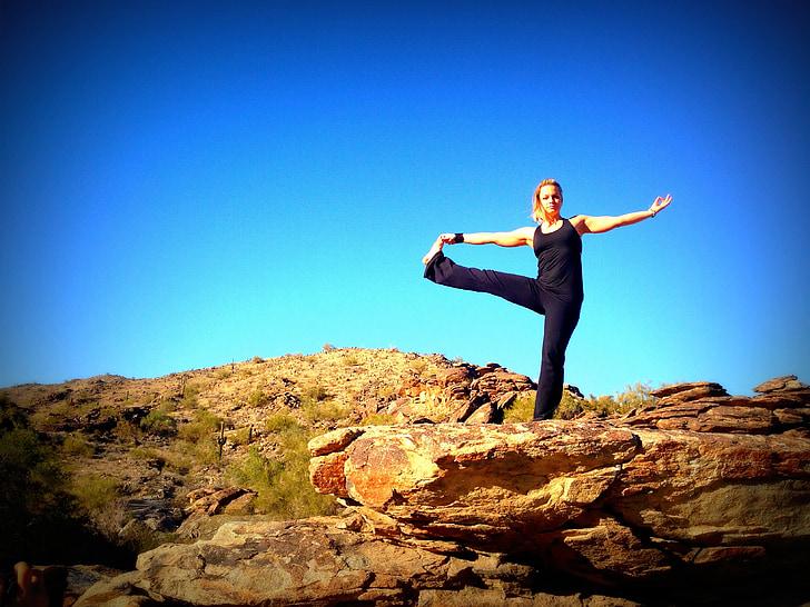 joga, zilas debesis, daba, bilance, rada, fitnesa, sieviete