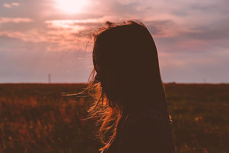 Dawn, skymning, fältet, Flicka, Utomhus, person, siluett