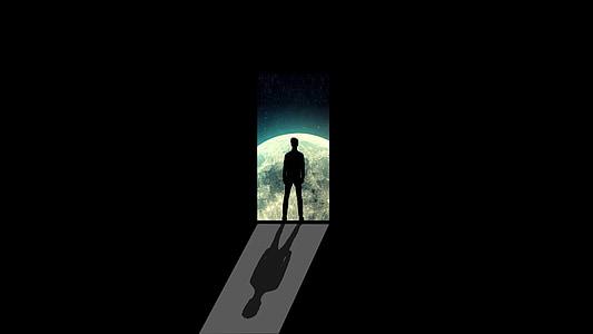 moon, man, alone, door, path, silhouette, night