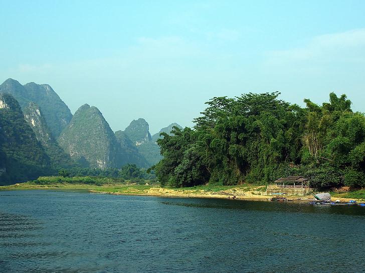 Čína, Yangshuo, li rieky, loďou, rybár, odrazy, Valley