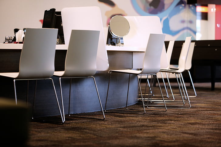 cadeiras, espelho, escritório, tabela