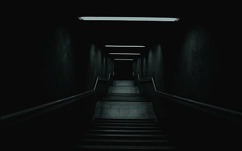 escala, foscor, misteri, Alba escales, corredor, por, túnel