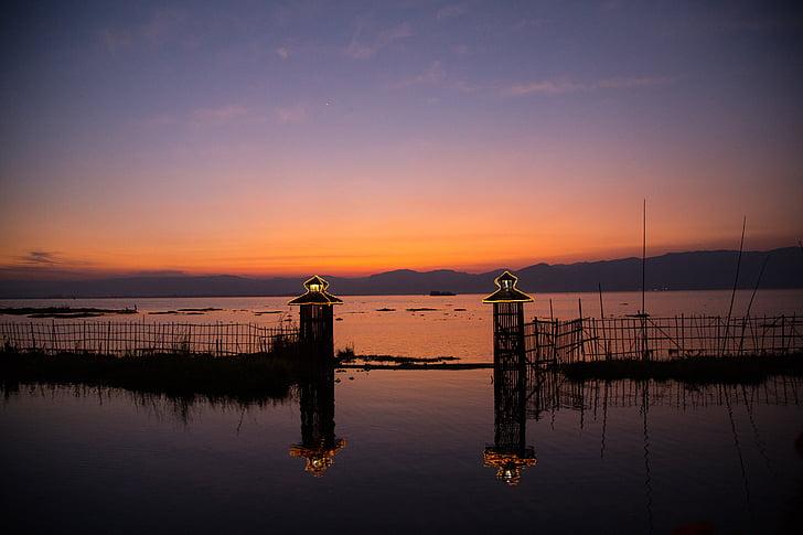 Burma, Inle lake, solnedgång, naturen, havet, siluett, skymning
