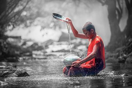 color splash, monk, forest, ancient, asia, buddhism, religion