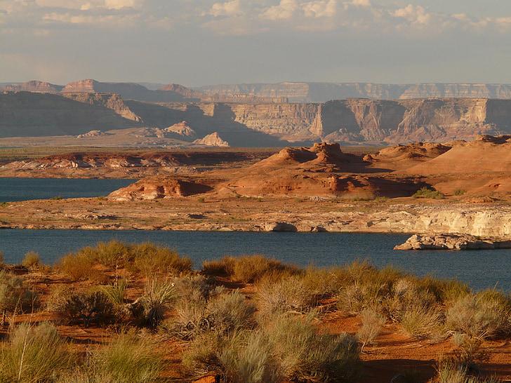 Lac powell, réservoir, Lac, eau, paysage, montagne, Arizona