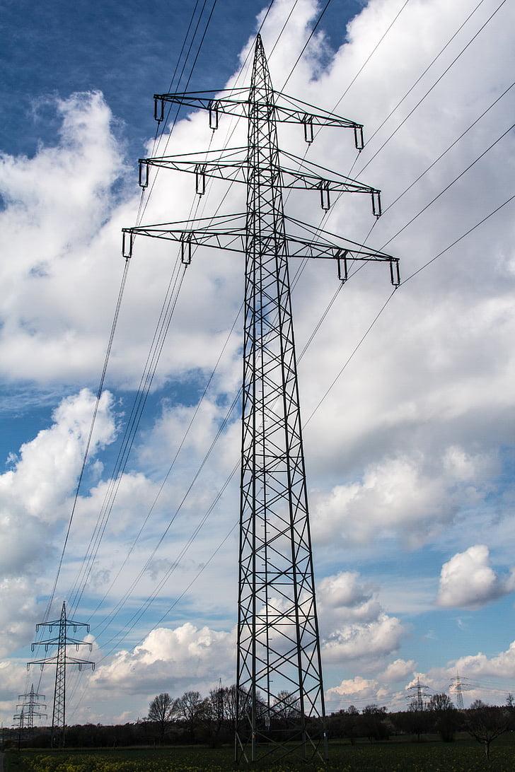 energia, actual, línia de poder, Elektrik, línies d'energia, corrent elèctric, pols de poder
