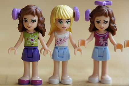 deti, dievča, Lego, Lego priateľov, kamarátky, tri, portrét
