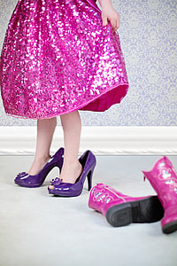 little girl, shoes, pink, dress, glamour, childhood, playing