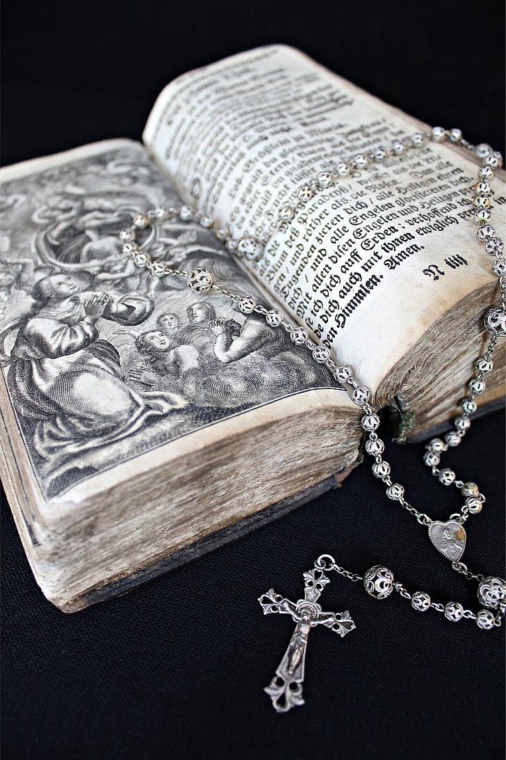 성경, 묵 주, 도 서, 기독교, 종교, 하나님, 거룩한