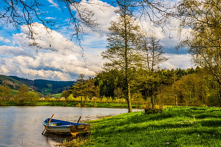 boot, lake, water, rowing boat, landscape, fish, bank