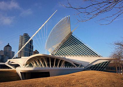 Milwaukee kunstimuuseum, Milwaukee, muuseum, Wisconsin, arhitektuur, Lakefront, linnaruumi