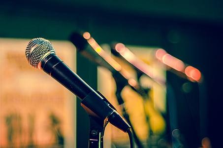 blur, blurry, close-up, macro, microphone stands, microphones, mics