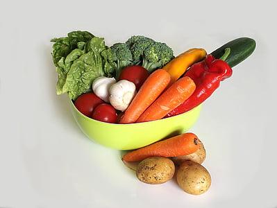 köögiviljad, roheline, toidu, pipar, punane pipar, taimne, terve