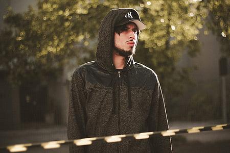 man, gray, zip, hoodie, people,man, guy, alone