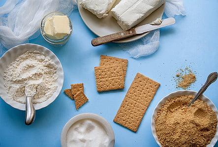 ingredients, mantega, formatge, galetes, salades, aliments, cuina